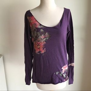 Lucky Brand Asian Floral Motif Tee Size L